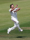 Sean Ervine of Hampshire bowls during the LV County Championship match between Hampshire and Kent at The Rose Bowl on July 5 2010 in Southampton...