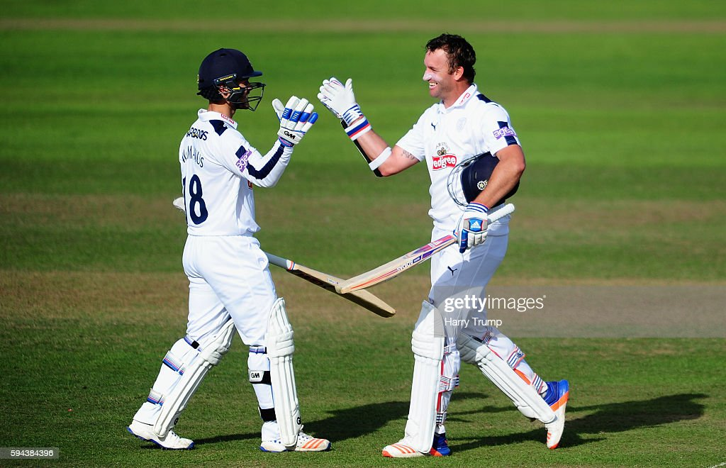 Sean Ervine of Hampshire celebrates his century during Day One of the Specsavers County Championship Division One match between Somerset and...