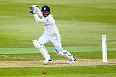 Sean Ervine of Hampshire hits out during Day 2 of the LV County Championship Division One match between Hampshire and Worcestershire at Ageas Bowl on...