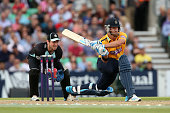 Sean Ervine of Hampshire hits out during the Natwest T20 Blast match between Surrey and Hampshire at The Kia Oval on June 27 2014 in London England