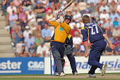 Sean Ervine of Hampshire hits Richard Pyrah of Yorkshire for 4 runs during his innings of 100 runs in the Cheltenham Gloucester Trophy Semi Final...