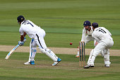 Sean Ervine of Hampshire is caught by Ian Cockbain of Gloucestershire during day one of the LV County Championship match between Hamshire and...