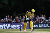Sean Ervine of Hampshire is clean bowled by Toby RolandJones of Middlesex during the NatWest T20 Blast between Middlesex and Hampshire at the...