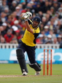 Sean Ervine of Hampshire picks up some runs during the Friends Life T20 semi final match between Hampshire and Somerset at Edgbaston on August 27...