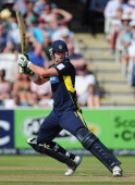 Sean Ervine of Hampshire plays a shot during the Clydesdale Bank Pro40 Final between Hampshire and Warwickshire at Lord's Cricket Ground on September...