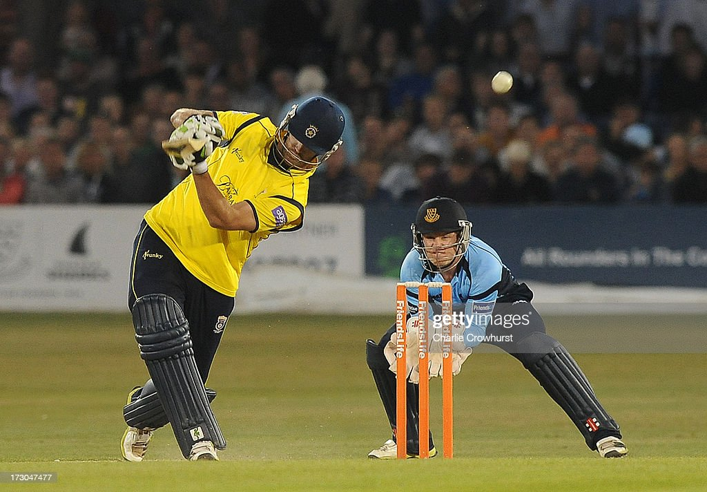 Sean Ervine of Hampshire slogs a shot during the Friends Life T20 match between Sussex Sharks and Hampshire Royals at The Brighton and Hove Jobs County Ground on July 05, 2013 in Hove, England.