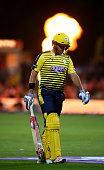 Sean Ervine of Hampshire walks off dejected having been dismissed during the NatWest T20 Blast match between Kent and Hampshire at The Spitfire...