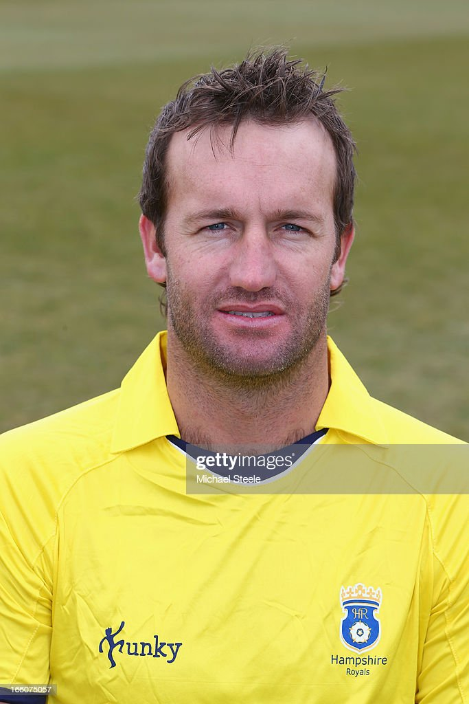 <a gi-track='captionPersonalityLinkClicked' href=/galleries/search?phrase=Sean+Ervine&family=editorial&specificpeople=579552 ng-click='$event.stopPropagation()'>Sean Ervine</a> of Hampshire wearing the Yorkshire Bank 40 Over kit during the Hampshire CCC photocall at The Ageus Bowl on April 8, 2013 in Southampton, England.
