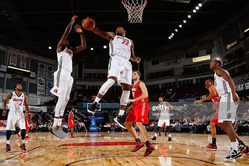 Sean Evans #22 of the Idaho Stampede pulls down a rebound during the NBA D-League game against the Maine Red Claws on December 26, 2012 at CenturyLink Arena in Boise, Idaho.