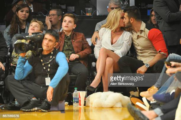 Sean Federline Jayden James Federline Britney Spears and Sam Asghari attend a basketball game between the Los Angeles Lakers and the Golden State...