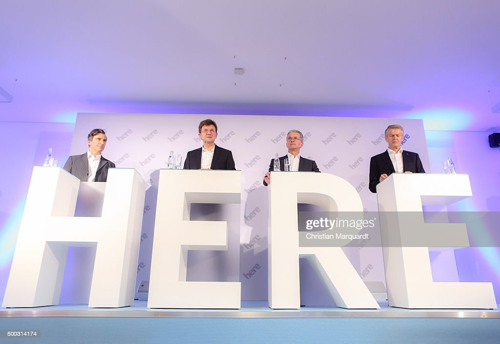 Sean Fernback, President of HERE/Nokia, Klaus Froehlich, Chief Technology Officer (CTO) BMW, Rupert Stadler, Chairman of the board and chief executive officer (CEO) AUDI and Thomas Weber, Chief Technology Officer (CTO) Daimler talk to the media during a press at the HERE-Headquarter on December 7, 2015 in Berlin, Germany. The press conference addressed a new collaboration to develop driving navigation technology, the basis for driver assistance systems and ultimately autonomous driving.