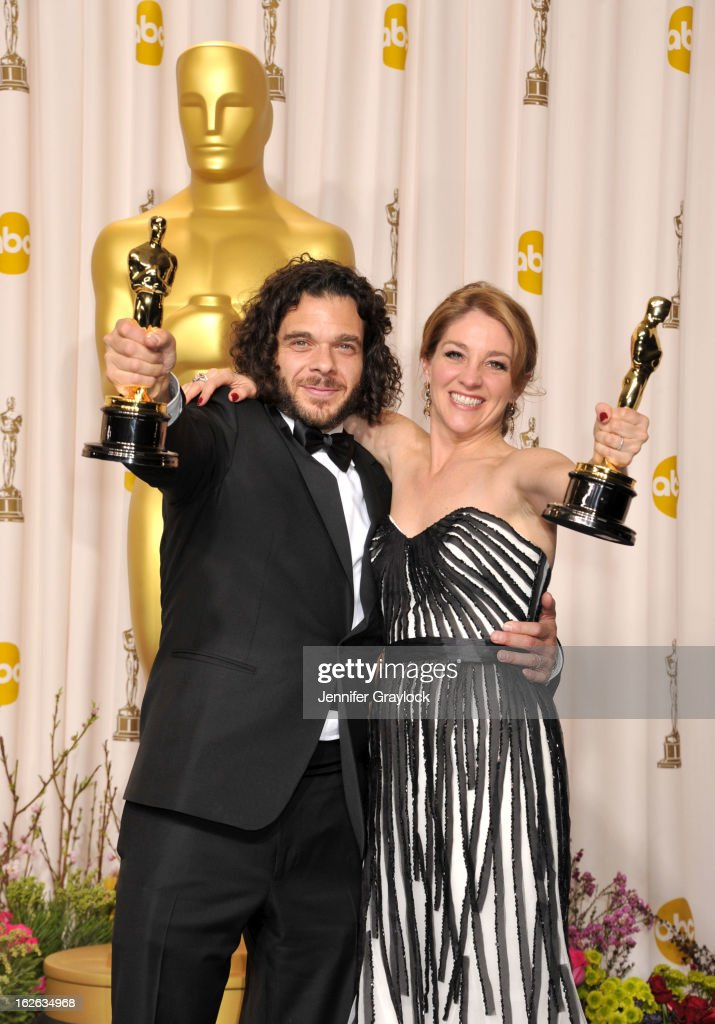 Sean Fine and Andrea Nix Fine pose in the press room during the 85th Annual Academy Awards held at Hollywood & Highland Center on February 24, 2013 in Hollywood, California.