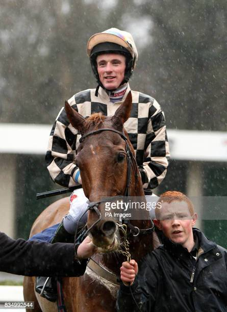 Sean Flanagan celebrates winning the Pierse Hurdle on Penny's Bill during the Pierse Hurdle Day at Leopardstown Racecourse Ireland