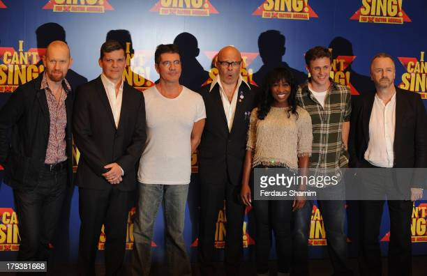 Sean Foley Nigel Harman Simon Cowell Harry Hill Cynthia Erivo Alan Morrisey and steve Brown attend a photocall to launch 'I Can't Sing The X Factor...