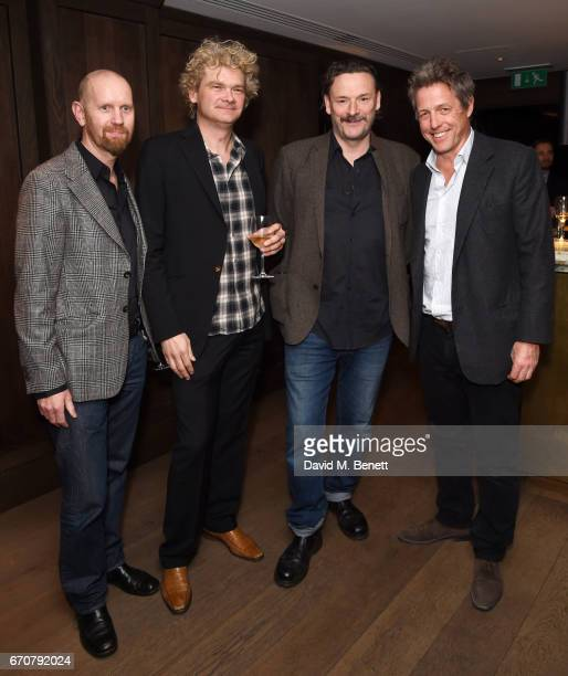Sean Foley Simon Farnaby Julian Barratt and Hugh Grant attend a gala screening of 'Mindhorn' at the May Fair Hotel on April 20 2017 in London England