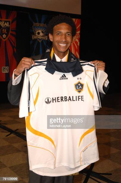 Sean Franklin poses for photo after being selected fourth by the Los Angeles Galaxy in the MLS Super Draft on January 18 2008 at the Baltimore...