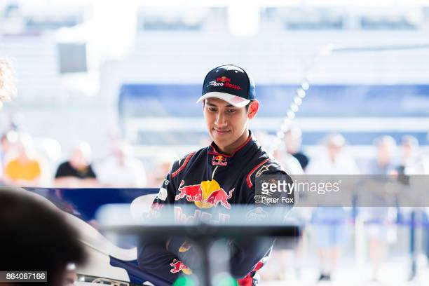 Sean Gelael of Scuderia Toro Rosso and Indonesia during previews ahead of the United States Formula One Grand Prix at Circuit of The Americas on...