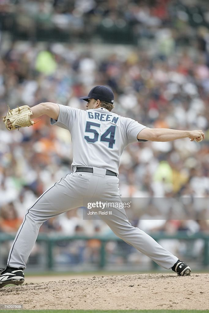 Sean Green of the Seattle Mariners pitches against the Detroit Tigers at Comerica Park in Detroit Michigan on May 10 2007 The Tigers defeated the...