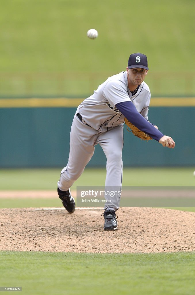 Sean Green of the Seattle Mariners pitches during the game against the Texas Rangers at Ameriquest Field in Arlington Texas on May 31 2006 The...