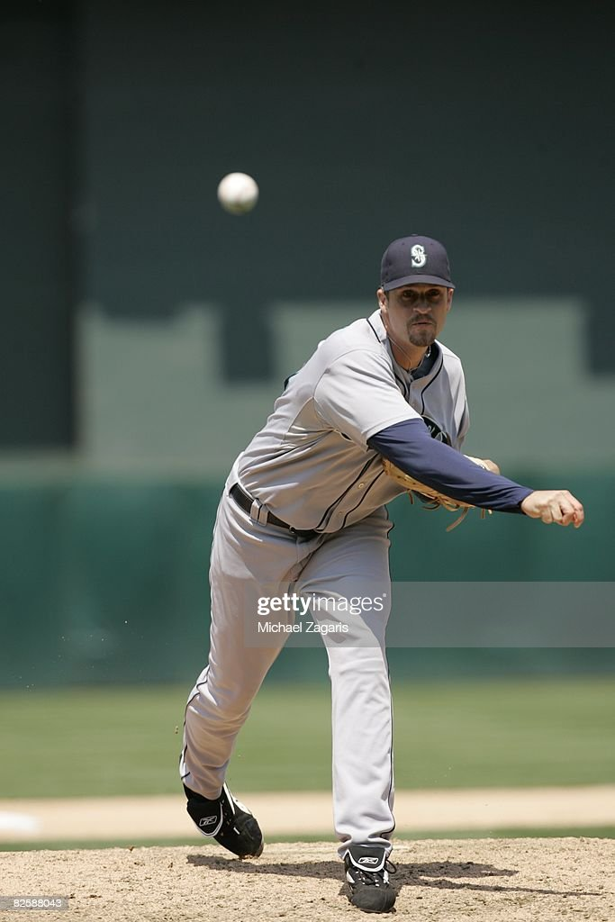 Sean Green of the Seattle Mariners pitches during the game against the Oakland Athletics at McAfee Coliseum in Oakland California on July 10 2008 The...