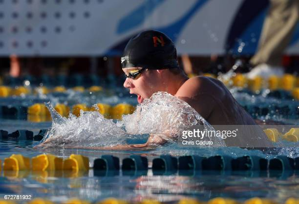 Sean Grieshop competes in the finals of the men's 200 meter individual medley on day three of the Arena Pro Swim Series Mesa at Skyline Aquatic...