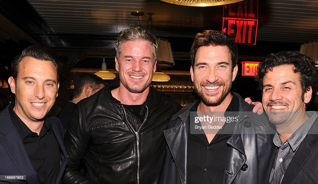 Sean Grumman, <a gi-track='captionPersonalityLinkClicked' href=/galleries/search?phrase=Eric+Dane&family=editorial&specificpeople=707708 ng-click='$event.stopPropagation()'>Eric Dane</a>, <a gi-track='captionPersonalityLinkClicked' href=/galleries/search?phrase=Dylan+McDermott&family=editorial&specificpeople=211496 ng-click='$event.stopPropagation()'>Dylan McDermott</a> and Michael Katcher attend the 2013 CAA Upfronts Party on May 14, 2013 in New York City.