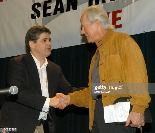 Sean Hannity and Mike Farrell during Sean Hannity ABC Radio Show West Coast Broadcast at Redondo Beach Performing Art Center in Redondo Beach...
