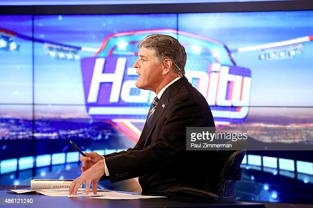 Sean Hannity on the set of FOX News Channel's 'Hannity' at FOX Studios on August 31 2015 in New York City