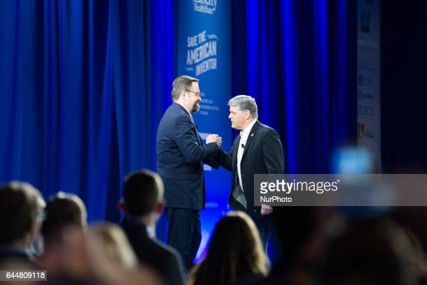 Sean Hannity Sebastian Gorka during the Conservative Political Action Conference at the Gaylord National Resort and Convention Center February 23...