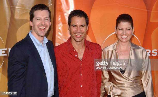 Sean Hayes Eric McCormack and Debra Messing during 2004 NBC All Star Party Arrivals at Universal Studios in Universal City California United States