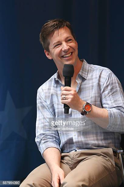 Sean Hayes performs at United presents 'Stars in the Alley' in Shubert Alley on June 3 2016 in New York City