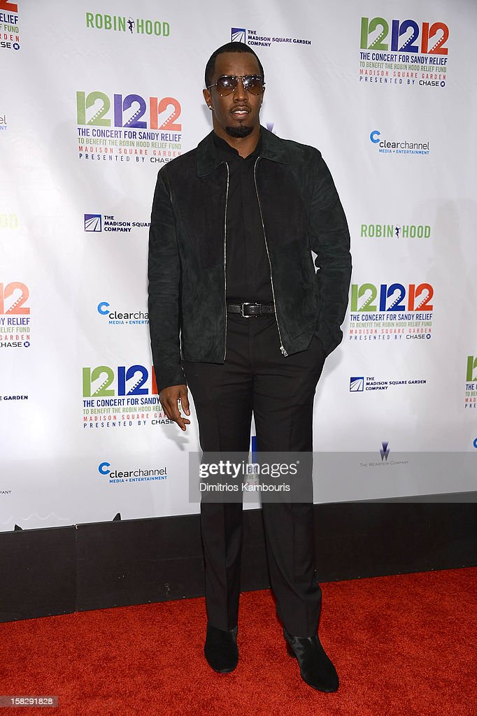 Sean John Combs attends '12-12-12' a concert benefiting The Robin Hood Relief Fund to aid the victims of Hurricane Sandy presented by Clear Channel Media & Entertainment, The Madison Square Garden Company and The Weinstein Company at Madison Square Garden on December 12, 2012 in New York City.