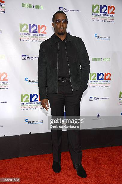 Sean John Combs attends '121212' a concert benefiting The Robin Hood Relief Fund to aid the victims of Hurricane Sandy presented by Clear Channel...