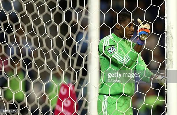 Sean Johnson of the Chicago Fire directs the defense during a Sporting Kansas City corner kick in the second half at Livestrong Sporting Park on...