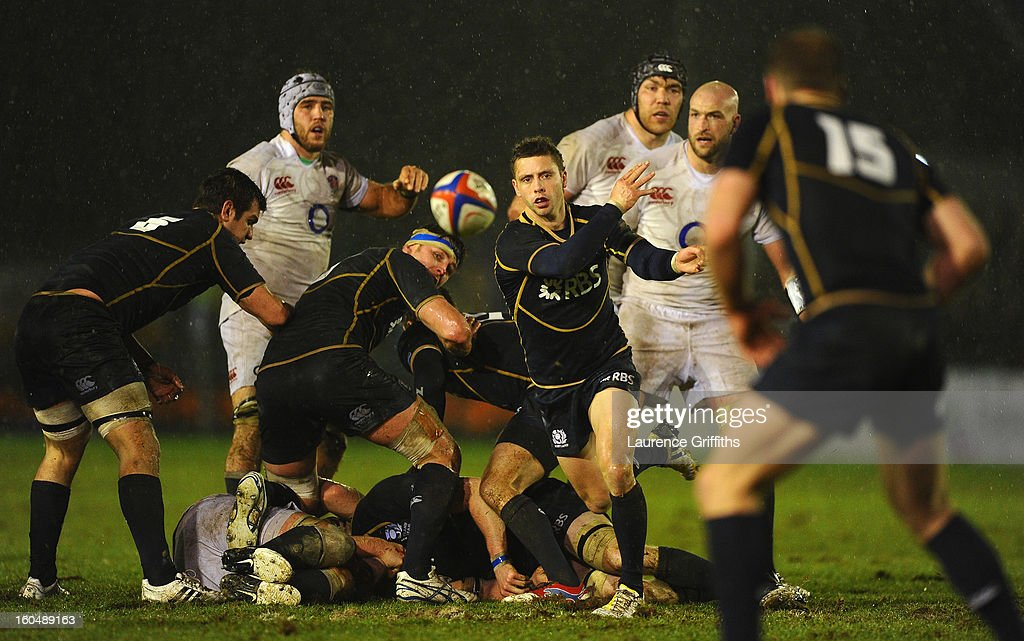 Sean Kennedy of Scotland in action during the International Friendly match between England Saxons and Scotland A at Kingston Park on February 1, 2013 in Newcastle upon Tyne, England.