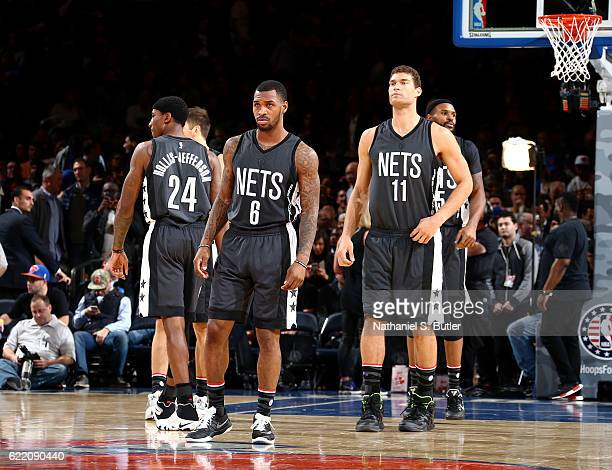 Sean Kilpatrick and Brook Lopez of the Brooklyn Nets look on during the game against the New York Knicks on November 9 2016 at Madison Square Garden...