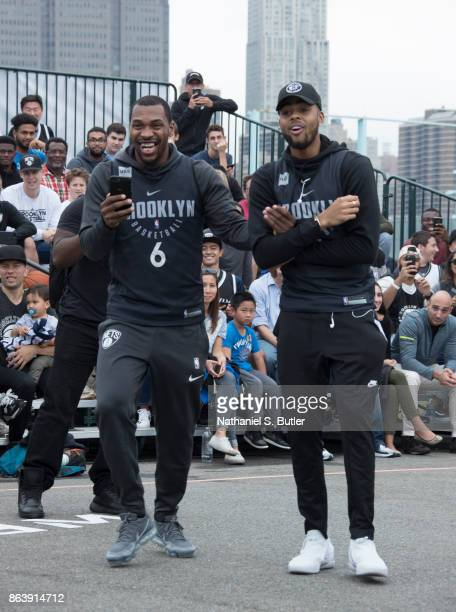 Sean Kilpatrick and D'Angelo Russell of the Brooklyn Nets participate in the Practice in the Park on October 14 2017 at Brooklyn Bridge Park in...