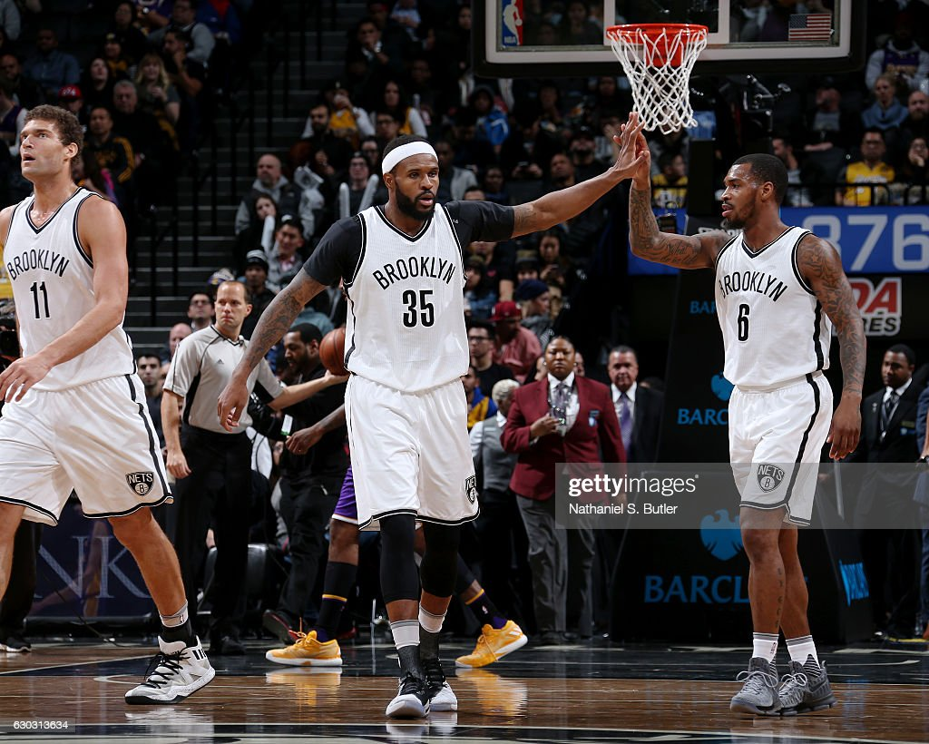 Sean Kilpatrick #6 of the Brooklyn Nets and Trevor Booker #35 of the Brooklyn Nets react during a game between the Los Angeles Lakers and the Brooklyn Nets on December 14, 2016 at Barclays Center in Brooklyn, NY.