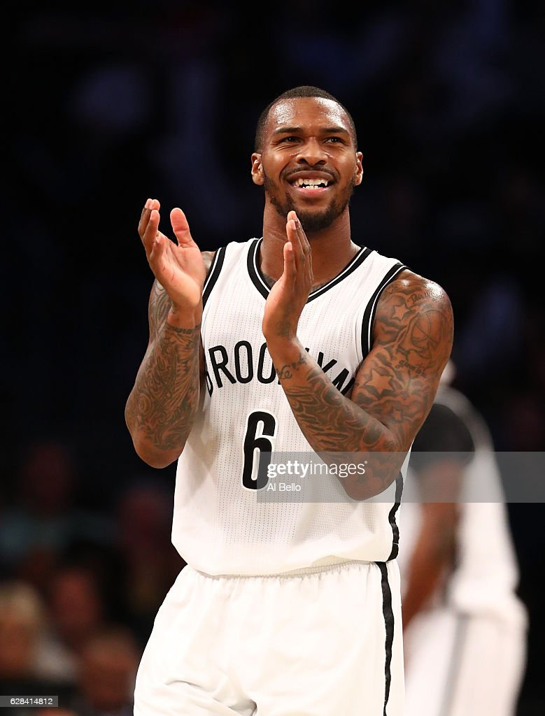 Sean Kilpatrick #6 of the Brooklyn Nets celebrates a call against the Denver Nuggets during their game at Barclays Center on December 7, 2016 in New York City.