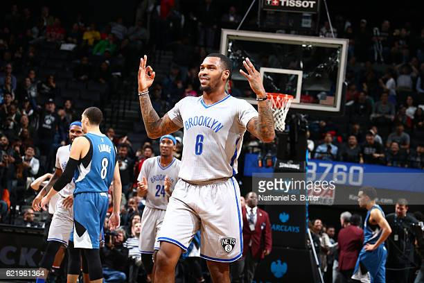 Sean Kilpatrick of the Brooklyn Nets celebrates during the game against the Minnesota Timberwolves on November 8 2016 at Barclays Center in Brooklyn...