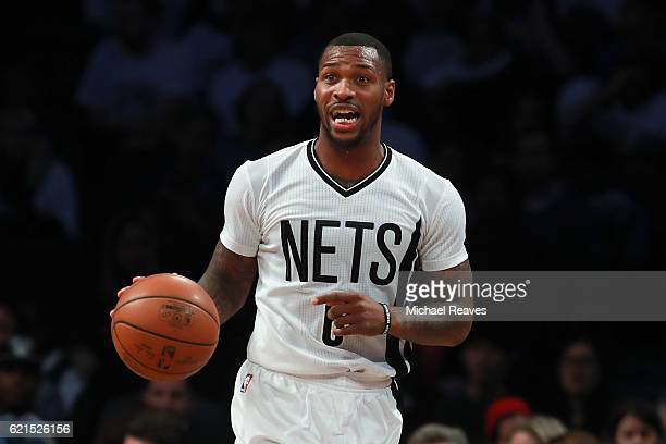 Sean Kilpatrick of the Brooklyn Nets dribbles up court against the Charlotte Hornets during the first half at Barclays Center on November 4 2016 in...