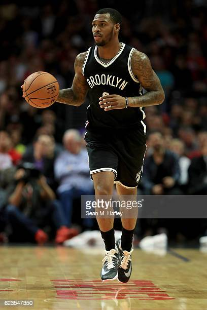 Sean Kilpatrick of the Brooklyn Nets dribbles upcourt during a game against the Los Angeles Clippers at Staples Center on November 14 2016 in Los...