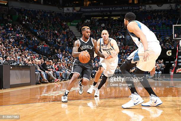 Sean Kilpatrick of the Brooklyn Nets drives to the basket against the Minnesota Timberwolves on March 5 2016 at Target Center in Minneapolis...
