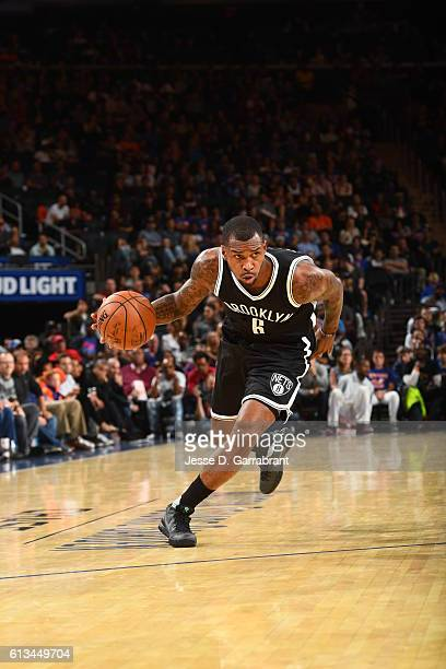 Sean Kilpatrick of the Brooklyn Nets drives to the basket against the New York Knicks in a preseason game at Madison Square Garden on October 8 2016...