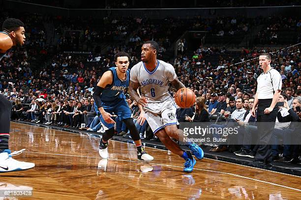 Sean Kilpatrick of the Brooklyn Nets drives to the basket against the Minnesota Timberwolves on November 8 2016 at Barclays Center in Brooklyn New...