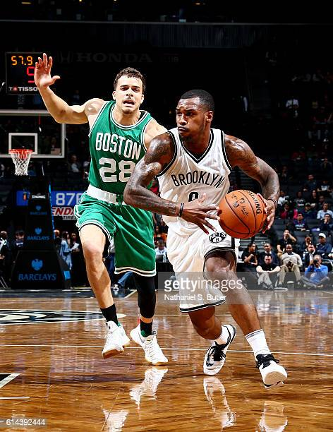 Sean Kilpatrick of the Brooklyn Nets drives to the basket during a preseason game against the Boston Celtics on October 13 2016 at Barclays Center in...