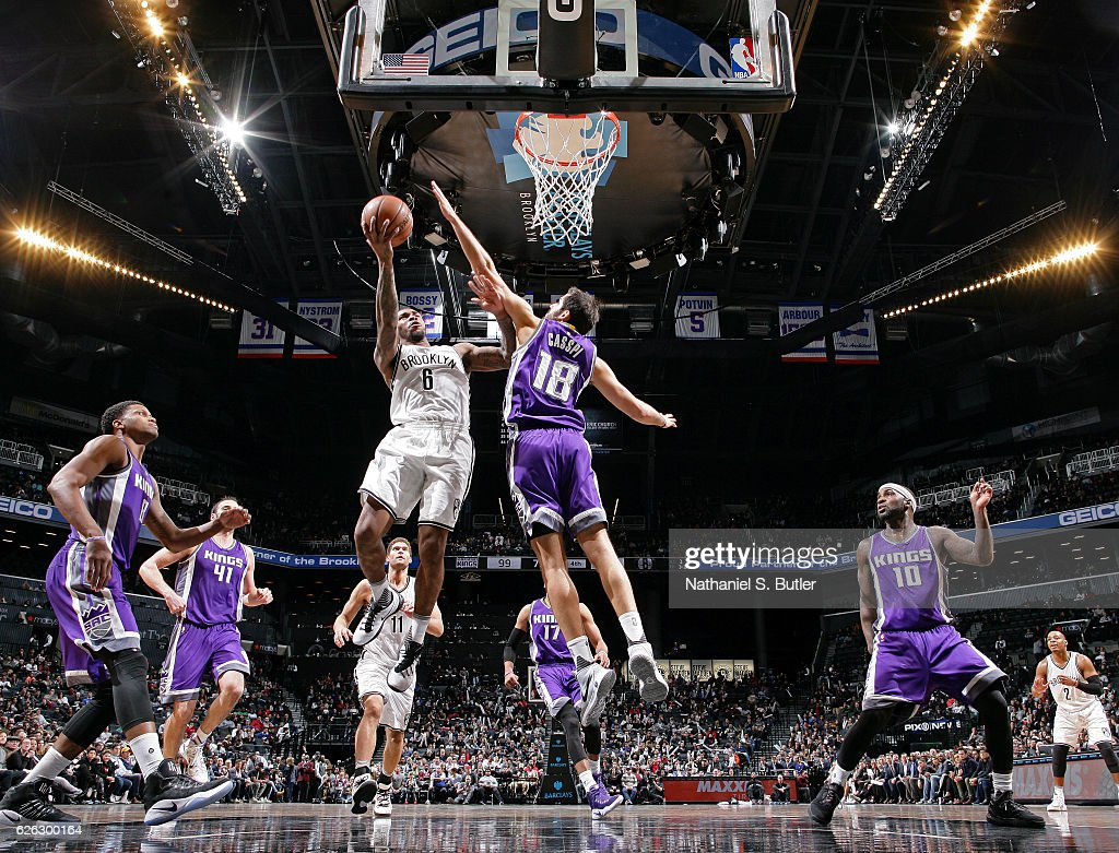 Sean Kilpatrick #6 of the Brooklyn Nets drives to the basket during a game against the Sacramento Kings on November 27, 2016 at Barclays Center in Brooklyn, NY.