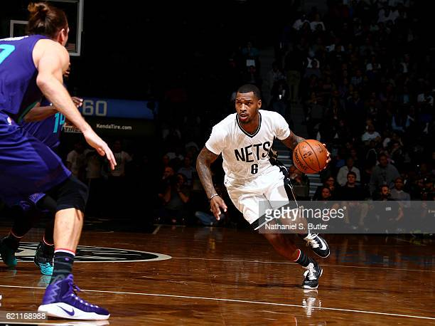 Sean Kilpatrick of the Brooklyn Nets drives to the basket during the game against the Charlotte Hornets on November 4 2016 at Barclays Center in...