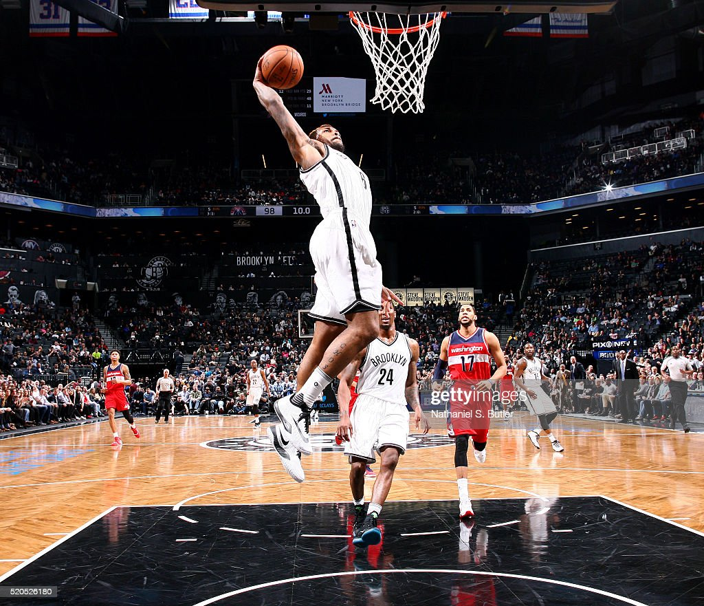 <a gi-track='captionPersonalityLinkClicked' href=/galleries/search?phrase=Sean+Kilpatrick&family=editorial&specificpeople=7444970 ng-click='$event.stopPropagation()'>Sean Kilpatrick</a> #6 of the Brooklyn Nets dunks against the Washington Wizards on April 11, 2016 at Barclays Center in Brooklyn, New York.