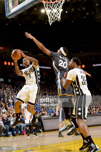 Sean Kilpatrick of the Brooklyn Nets goes to the basket against the Golden State Warriors on February 25 2017 at ORACLE Arena in Oakland California...